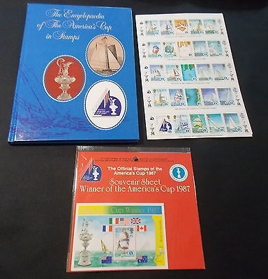 1987 Encyclopaedia Of The Americas Cup In Stamps Book + 50 Stamps + Winner Stamp