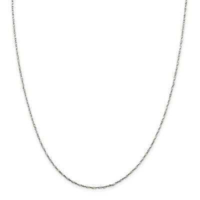 """925 Sterling Silver 1.2mm Twisted Serpentine Chain Necklace 16"""" - 24"""""""