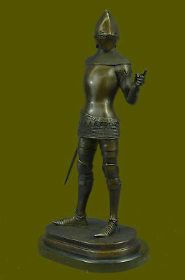 Real Bronze Metal Marble Medieval Middle Ages Knight Warrior SculptureBD