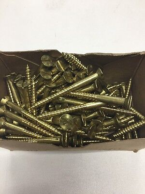 "100 Qty #12 x 2"" BRASS Slotted FH Wood Screws~Century~Wood Boat~Restoration"