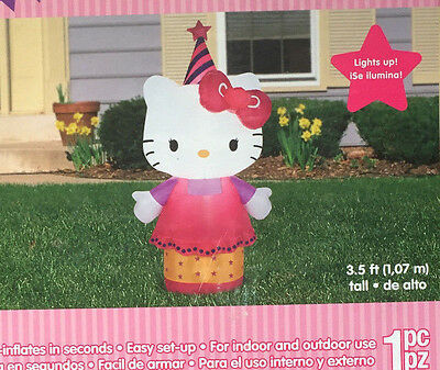 Hello Kitty 3.5 ft Birthday Airblown Inflatable by Gemmy NEW