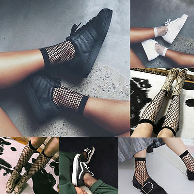 Girls Women Fishnet Ankle High Socks Lady Mesh Lace Fish Net Short Socks Sanwood