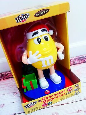 New M&M's Character Candy Dispenser YELLOW Plays Holiday Music Christmas Tree