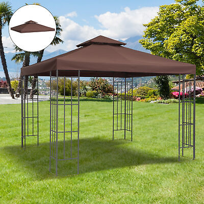 3x3m Gazebo Top Cover Double Tier Canopy Replacement Pavilion Roof Outdoor