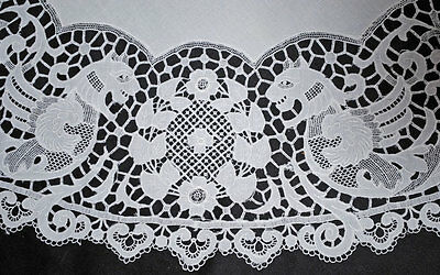 """Antique Lace Tablecloth Winged Dragons Figural 35-1/2"""" Round"""