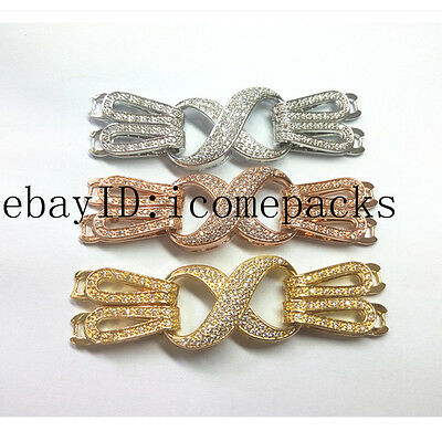 one pcs 2strings eight  number shape  jewellery pearl necklace clasp hook