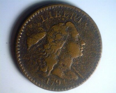 ICOIN - 1794 Liberty Cap Flowing Hair Large Cent S44 - FINE