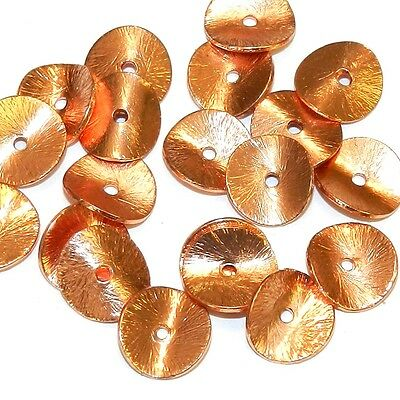 MB3138f Bright Copper 10mm Brush Textured Wavy Rondelle Metal Spacer Beads 20/pk
