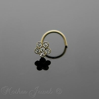 Genuine Real 9K Solid Yellow Gold Flower Screw Curl Twist Nose Pin Stud