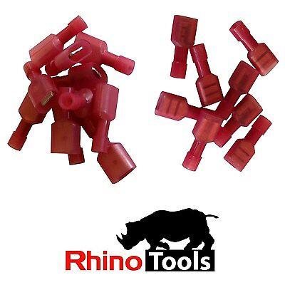 1.5mm Red Disconnect Crimp lugs 100 Male 100 Female Fully Insulated Terminals