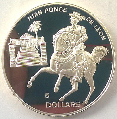 Bahamas 1994 Ponce De Leon 5 Dollars Silver Coin,Proof