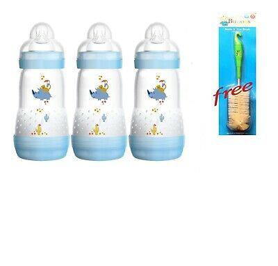 Mam 260Ml Anti-Colic Bottle 3 Pack Blue BUY GET FREE 1 Cleaning Brush