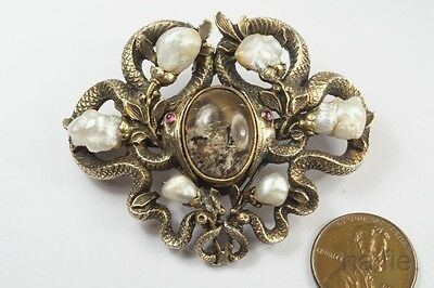 ANTIQUE EUROPEAN ART NOUVEAU SILVER NATURAL PEARL COILED SNAKES BROOCH c1900