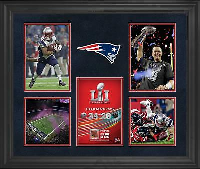 New England Patriots Framed 23x27 SBLI Champs Collage & Piece of Used Football