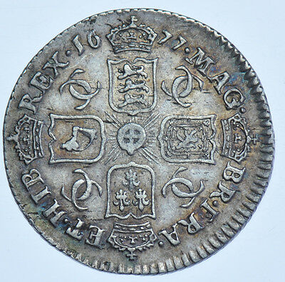 1677 Sixpence British Silver Coin From Charles Ii Gvf
