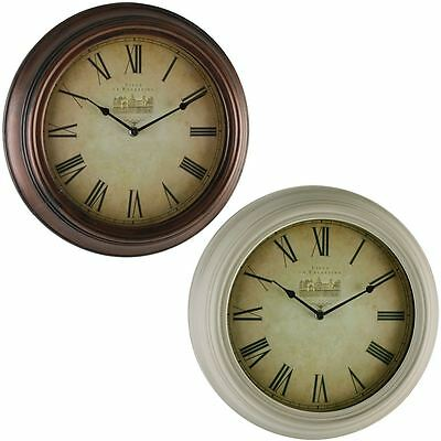 Hometime Antique Effect Case 35cm Roman Dial Wall Clock Lounge Dining Room