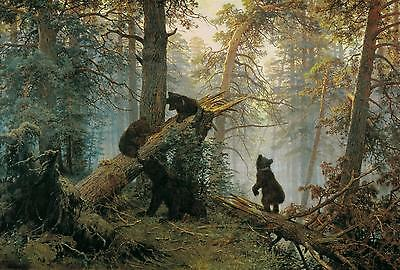 Morning in the Pinetree Forest by Ivan Shishkin Handmade Oil Painting repro