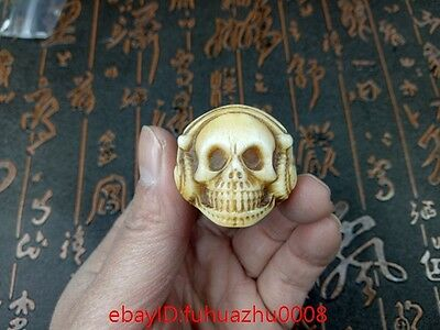 Collectibles Bone Handwork Carving Skull Ring