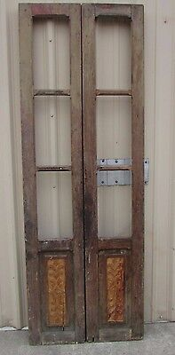 Antique Pair Carved Mexican Old-Vintage-Primitive-Rustic-33x94-French Doors-Tall