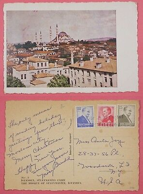 1950s TURKEY PC CONSTANTINOPLE SULEYMANIYE MOSQUE VIEW POSTCARD 90