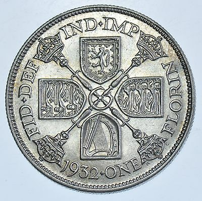 Rare Key Date, 1932 Florin British Silver Coin From George V Ef