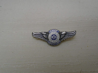 Vintage USAF United States Air Force Chief Ground Observer Wing Pin GOC Military