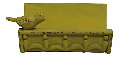 Desk Business Card Holder Stand Bird Design Country Cottage Shabby Finish Gold