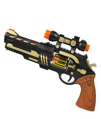 LED 13 Inch Toy Revolver - Ages 3+ - Sound - Lights - fnt