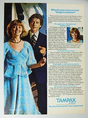 1978 Tampax Tampons Vintage Magazine Ad Page - Cute Girl & Guy Dancing - Disco
