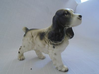 Dog Figurine Japan Vintage Spaniel English Spaniel Black & White ''ADORABLE""