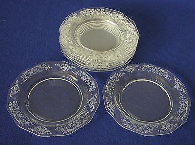 Set of 8 Fostoria Navarre Clear Crystal Etched 7½ inch Salad Lunch Plates