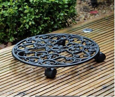 Cast Iron Heavy Plant Planter Pot Mover Trolley Metal With Wheels Holder Caddy