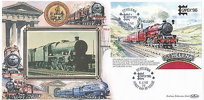 (98074) St Helena Benham FDC Trains CAPEX minisheet 8 June 1996