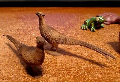 "Two Vintage Antique Germany Very Detailed Realistic 3"" Pheasants Mint"
