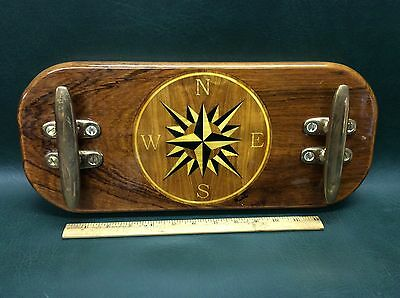 Fine Compass Rose Inlaid on Teak with Bronze Cleats ~Artist signed Wall Plague