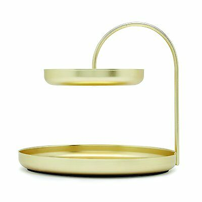 Umbra POISE TWO TIER ACCESSORY JEWELRY HOLDER TRAY, LARGE BRASS 1005313-104