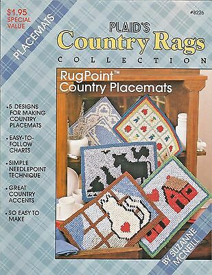 Country Rags Rugpoint Country Placemats Cat Farm House Plaid Suzanne McNeill