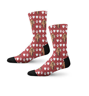 Basset Hound Dog Red Paw Heart Fun Cool Novelty 7 in Men Women Socks