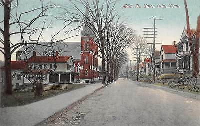 UNION CITY, CT ~ MAIN STREET & CHURCH ~ AUGUST SCHMELZER CO. PUB. #5 ~ c.1910s