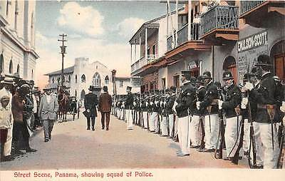 PANAMA ~ STREET SCENE, POLICE SQUAD IN FORMATION, MADURO PUB ~ dated 1910