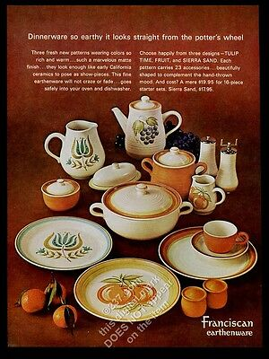 1963 Franciscan Tulip Time Fruit Sierra Sand plate pitcher etc photo print ad