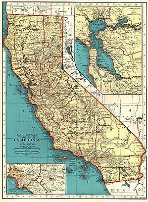 1935 Antique CALIFORNIA Map State Map of California Gallery Wall Art 3641