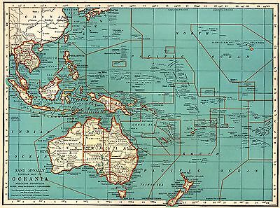 1935 Vintage OCEANIA Map Philippines PACIFIC Islands Map Gallery Wall Art #3643