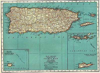1935 Vintage PUERTO RICO Map Vintage Map of Puerto Rico Gallery Wall Art #3646