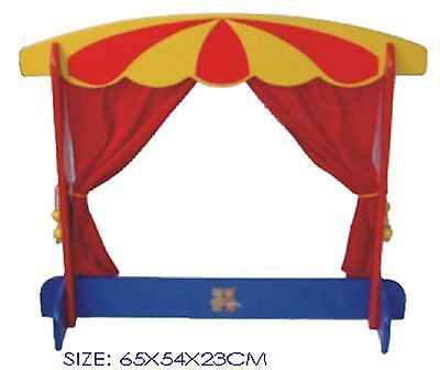 Wooden Table Top Puppet Theatre with red curtains
