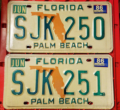 Florida License Plate Set of 2 Consecutive (1979-1986 Style) Palm Beach FL Tag