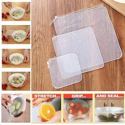 3/4/5Pcs/set Reusable Silicone Food Storage Wraps Seal Cover Stretch Cling Film