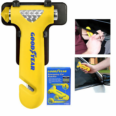 Goodyear Emergency Car/Van Windscreen Hammer, With Seat Belt Cutter & Holder SOS