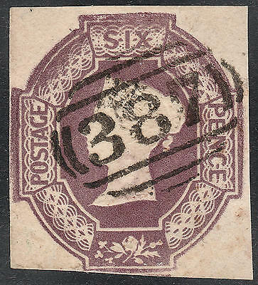 1854 SG59 6d DULL LILAC EMBOSSED CUT SQUARE 4 MARGINS HUDDERSFIELD 387 CANCEL
