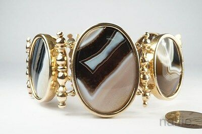 ANTIQUE ENGLISH LATE VICTORIAN PINCHBECK & BANDED AGATE GOTHIC BRACELET c1890